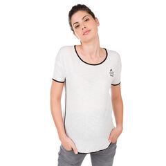 Camiseta de manga corta con estampado y ribete en contraste