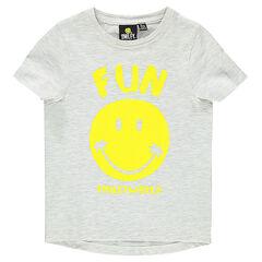 Camiseta de manga corta de punto jaspeado con estampado ©Smiley