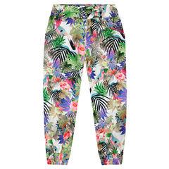 Pantalón fluido con estampado tropical