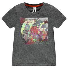 Camiseta manga corta de color liso estampado fantasía