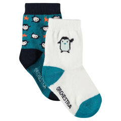 Juego de 2 pares de calcetines con motivos de pingüinos