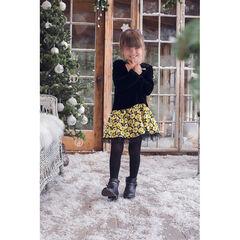 Vestido efecto 2 en 1 de pana de terciopelo y dibujos florales con lentejuelas