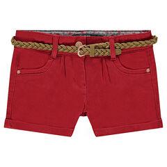 Júnior - Pantalón corto de sarga con cinturón trenzado desmontable