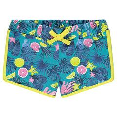 Pantalón corto con estampado tropical
