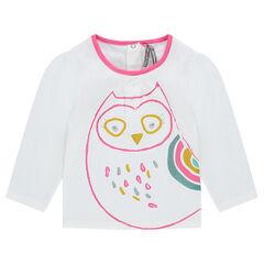 Camiseta con estampado y bordado de lechuza