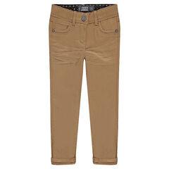 Júnior - Pantalón corte slim de sarga lisa
