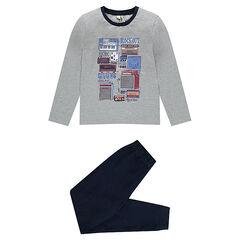 Pijama de punto con parte de arriba y bajos de algodón piqué