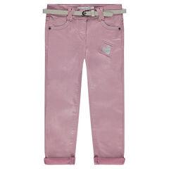Pantalón slim de tela con brillo y cinturón extraíble