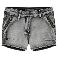 Júnior - Pantalón corto vaquero con efecto gastado con cremallera y flecos