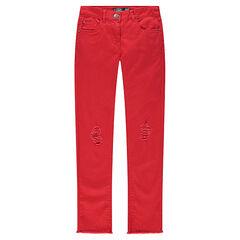 Júnior - Pantalón skinny liso, con efecto gastado