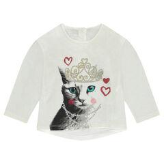 Camiseta de punto slub con estampado de fantasía