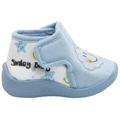 Zapatillas azules de punto con parche con nube plastificado y estampado de Smiley