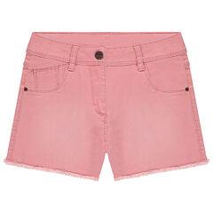 Júnior - Pantalón corto de sarga efecto teñido y gastado con acabados sin rematar