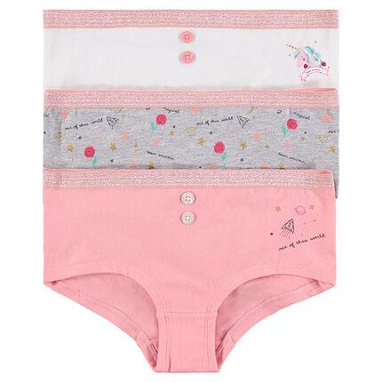 Júnior - Pack de 3 culottes de algodón con estampados de fantasía y botones