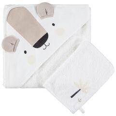 set de baño de algodon bio con capa koala y guante de rizo , Orchestra