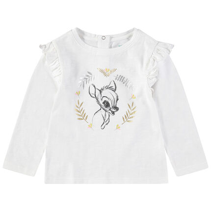 Camiseta de manga larga con volantes estampado Bambi Disney