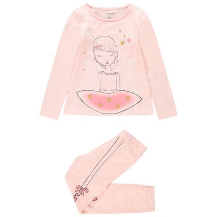 Pijama de punto rosa con bailarina estampada