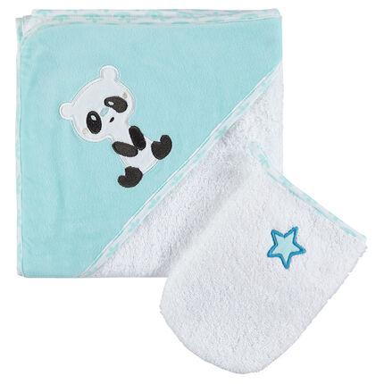 Lote de baño de rizo bordado de pandas y estrella
