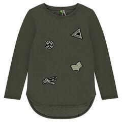 Júnior - Camiseta de manga larga con parches en forma de escudo