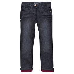 Jeans efecto crinkle con forro de tejido de punto