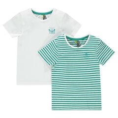Lote de 2 camisetas manga corta con rayas de color liso