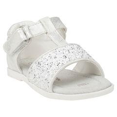 Sandalias blancas con velcro y purpurina