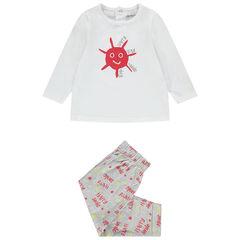 Pijama de 2 piezas de punto de manga larga y estampado