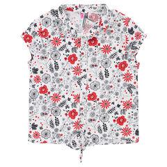 Camisa de manga corta con flores que contrastan