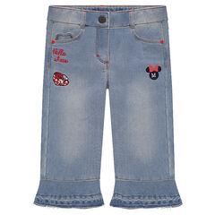 Pantalón pirata vaquero efecto gastado Disney con bordados Minnie