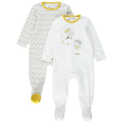 Juego de 2 pijamas de terciopelo con ratones estampados y toques amarillos