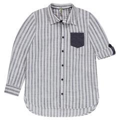 Júnior - Camisa de manga larga a rayas con bolsillo de fantasía
