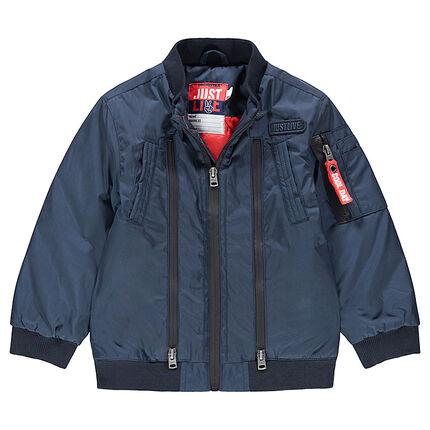 Júnior - Teddy azul liso con forro estampado y bolsillo con cremallera