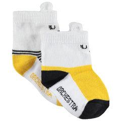 Juego de 2 pares de calcetines a juego que contrastan/de rayas