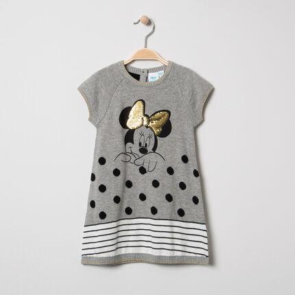 Vestido de manga corta de punto con estampado Minnie y lentejuelas Disney