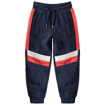 Pantalón de chándal de felpa con toques que contrastan