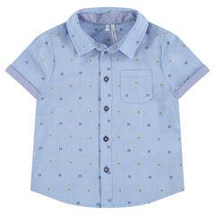 Camisa de manga corta con estampado de jacquard all-over
