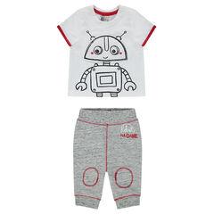 Conjunto de camiseta de manga corta con estampado de robot y pantalón de felpa