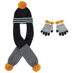 Gorro y bufanda de punto con pompones y guantes de rayas