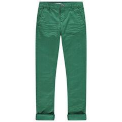 Júnior - Pantalón de tela verde con bolsillo italianos