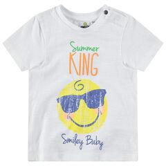 Camiseta de manga corta con ©Smiley con efecto arrugado
