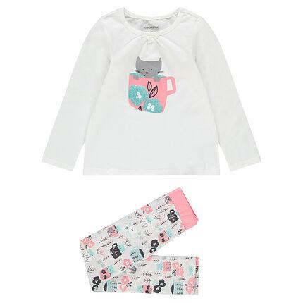 Pijama de punto con gatito estampado