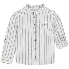 Camisa de manga larga de rayas verticlaes y cuello tipo mao , Orchestra