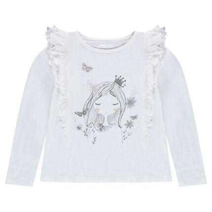 Camiseta de manga larga con volantes y muñeca estampada