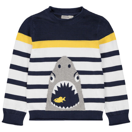 Jersey de punto de rayas y tiburón de jacquard