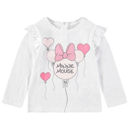 Camiseta de manga larga con estampado de Minnie con globos y brillo