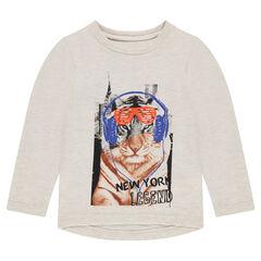 Camiseta de manga larga con tigre estampado