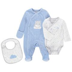 Juego para recién nacido azul y blanco con pijama de terciopelo, body de manga larga y babero