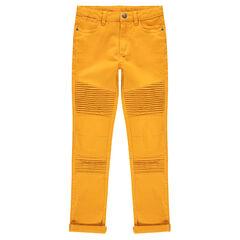 Júnior - Pantalón de sarga teñida con juego de pliegues y pespuntes