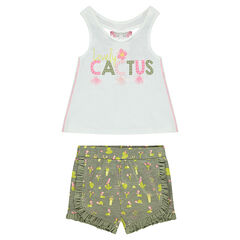 Conjunto de camiseta sin mangas de punto y short con estampado de cactus all-over