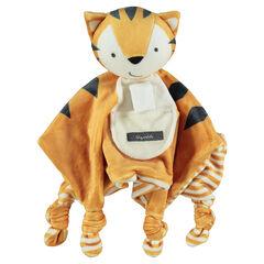 Trapito de terciopelo en forma de tigre con lazos